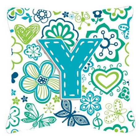 Carolines Treasures CJ2006-YPW1414 Letter Y Flowers And Butterflies Teal Blue Canvas Fabric Decorative Pillow - image 1 of 1