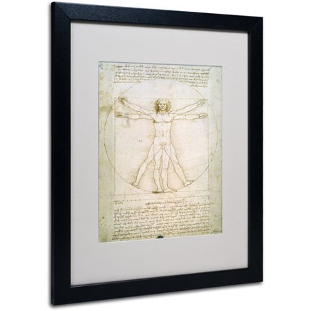 Trademark Art 'The Proportions of the Human Figure' Matted Framed Art by Leonardo da Vinci
