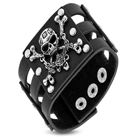 Genuine Black Leather Rose Pirate Skull Crossbones Snap Wristband Biker Bracelet - Snap Wristbands