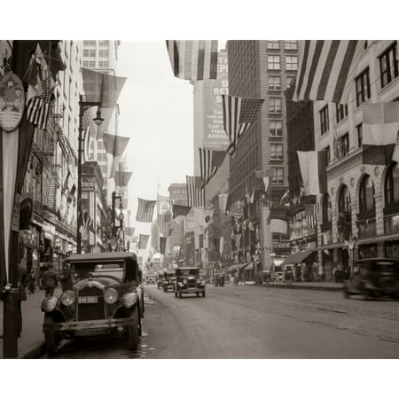 1920s-1926 Downtown Chicago State Street With American And Other National Flags Print By Vintage (State Street Downtown Chicago)