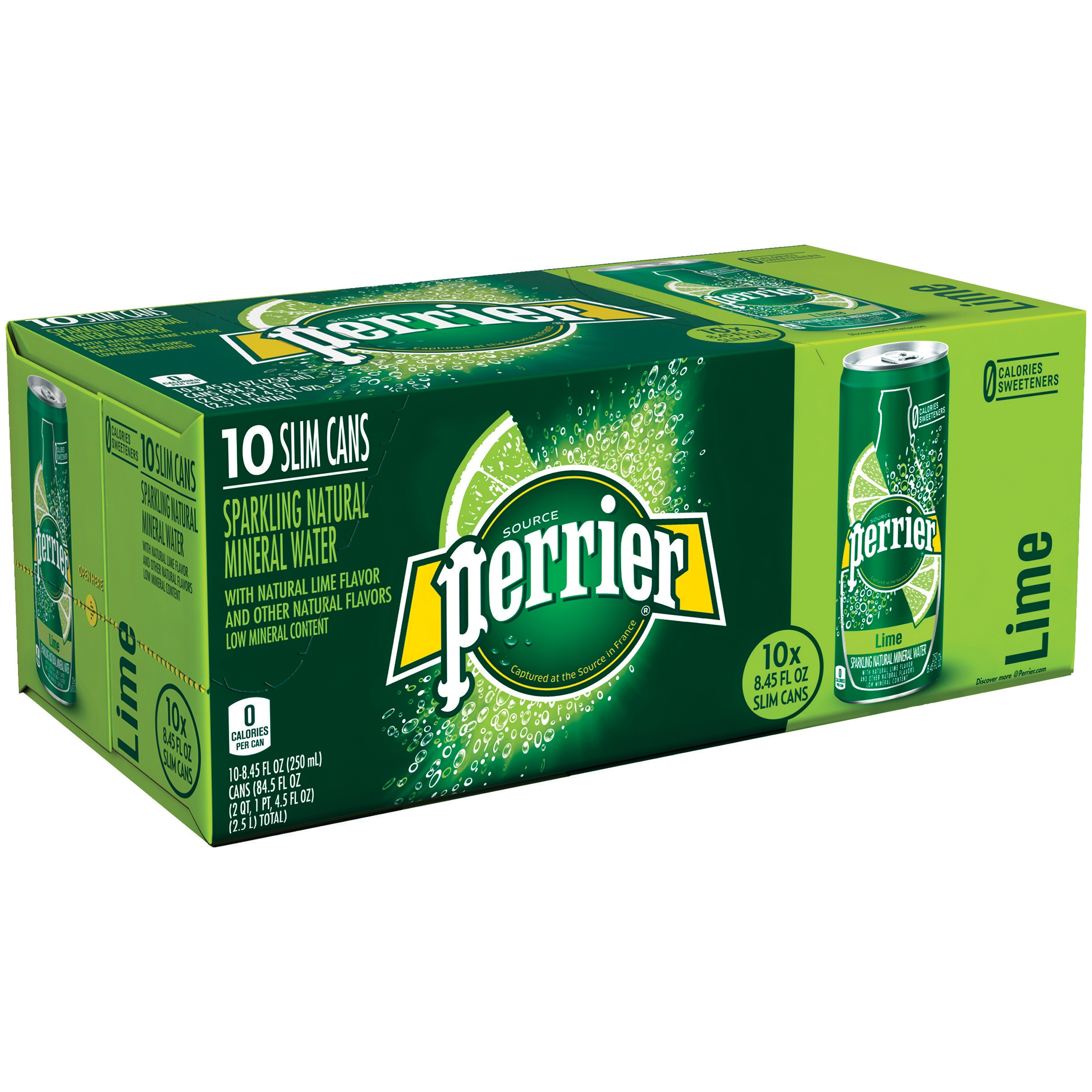Perrier Sparkling Natural Mineral Water, Lime, 8.4 Fl Oz, 10 Count