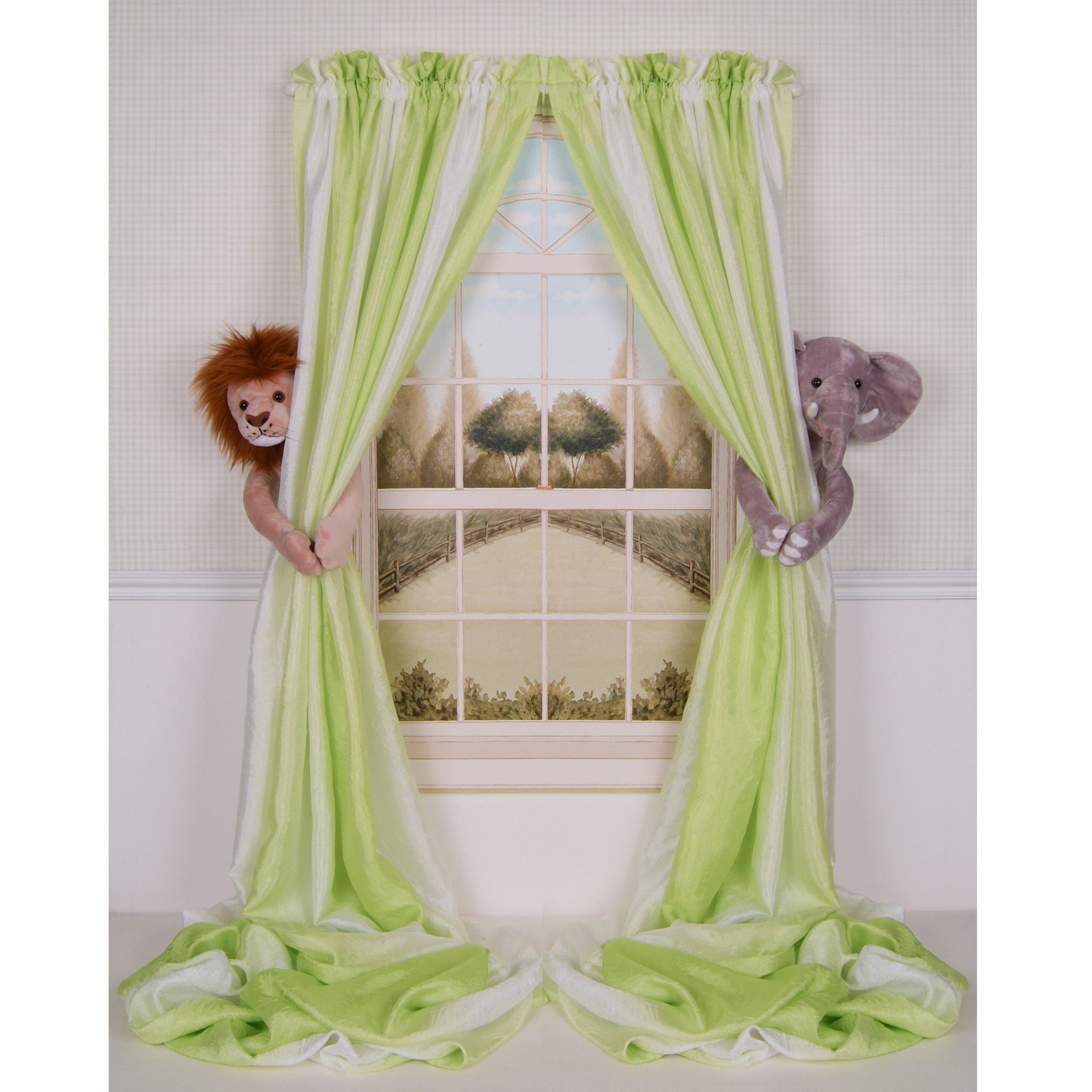 Baby Nursery Jungle Safari Lion And Elephant Curtain Tieback Set