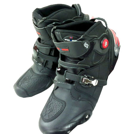 Leather Street Motorcycle Boots (NEW Men's Motorcycle Racing Boots Black US 9.5 EU 43 UK 8.5 )