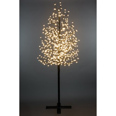 FLORAL LIGHTS- OUTDOOR CHERRY BLOSSOM TREE 576WW LED WITH CONTROL Cherry Blossom Tree A stunning accent both indoors and out, this Cherry Blossom LED tree with 576 LED lights, is destined to impress! With clear LED Cherry blossom flowers, this life like Blossom treeisa fun and festive accent foraparty, wedding, holiday or special occasion. Available in warm white, it is ideal for window or floor decoration and you're bound to find the perfect LED tree to compliment your dcor! Indoor/Outdoor 576 Warm White Leds Height 96.5  X Shaped Base (HI-LINE EXCLUSIVE)