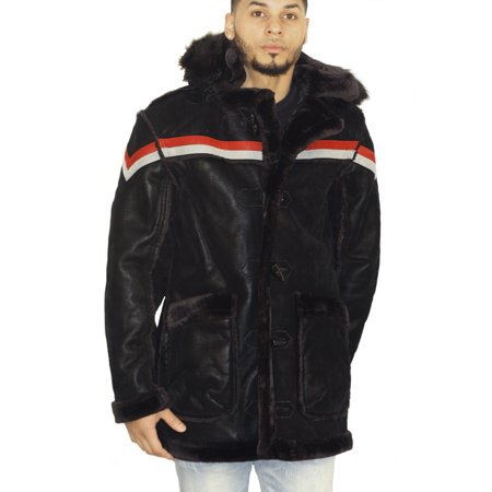 Shearling Leather Coat - Jordan Craig Tuscany Striped Shearling Jacket Black