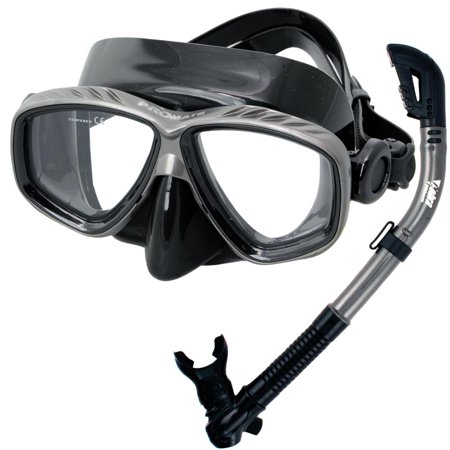 Mask Clear Scuba Dive - PROMATE Snorkeling Scuba Dive DRY Snorkel Mask Gear Set, Bk/Ti