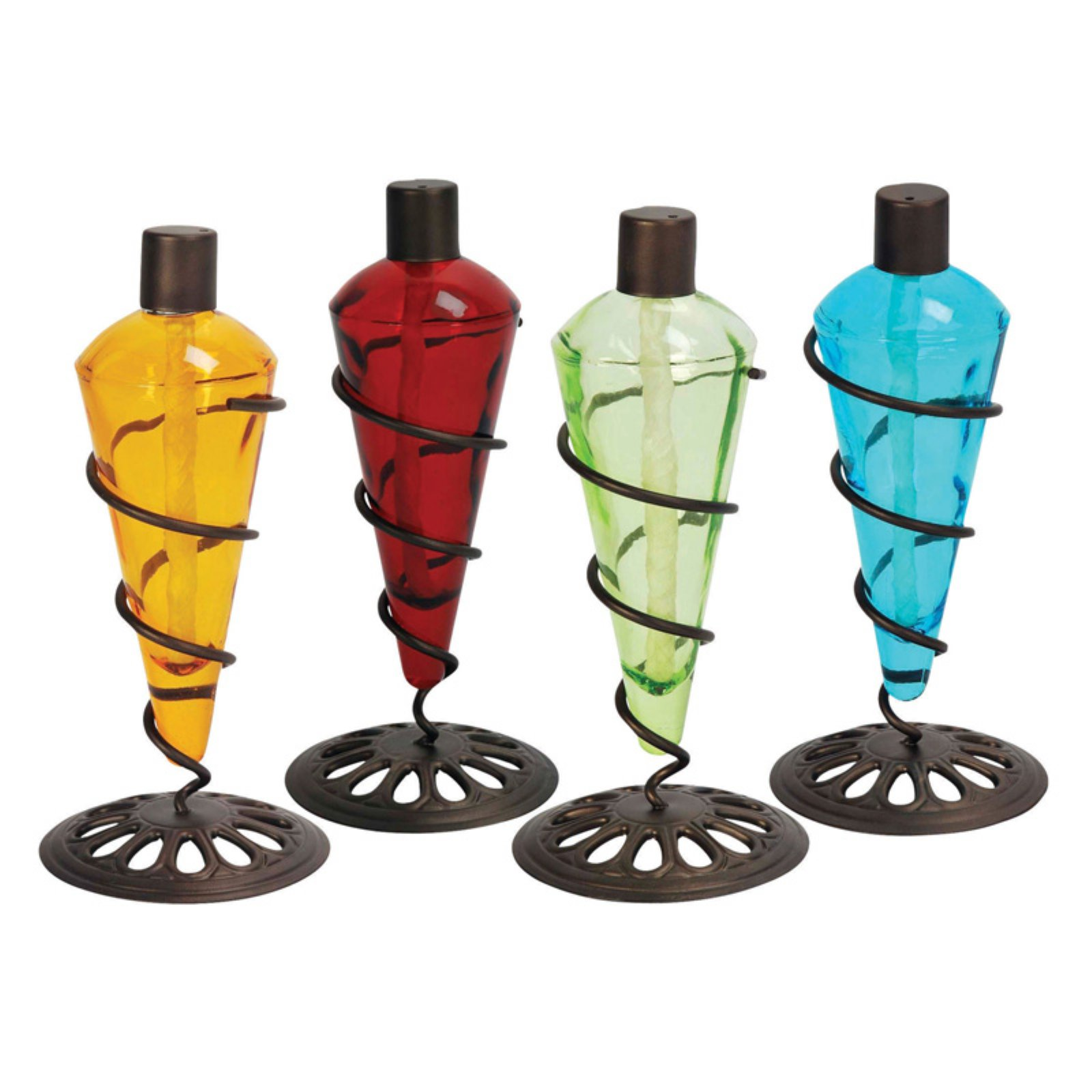 Superieur PSW Torches 11 In. Assorted Color Tabletop Tiki Torch   4 Pack