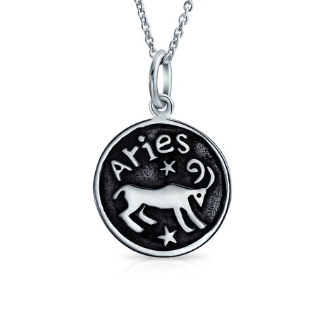 Zodiac Sign Astrology Horoscope Round Medallion Pendant For Men Women Necklace Antiqued Sterling (Medallion Style Pendant)