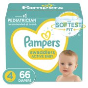 Pampers Swaddlers Diapers, Soft and Absorbent, Size 4, 66 Ct