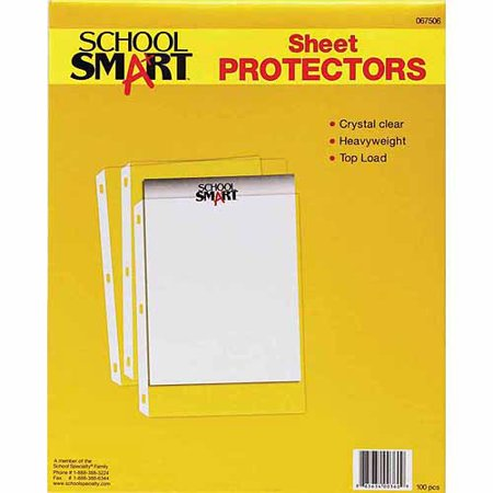 School Smart Polypropylene Heavyweight Reinforced Sheet Protector, Top Loading, Clear, Pack of 100