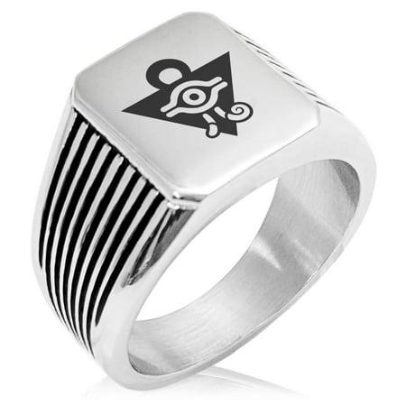 - Yu-Gi-Oh! Millennium Puzzle Stainless Steel Needle Stripe Pattern Biker Style Polished Ring