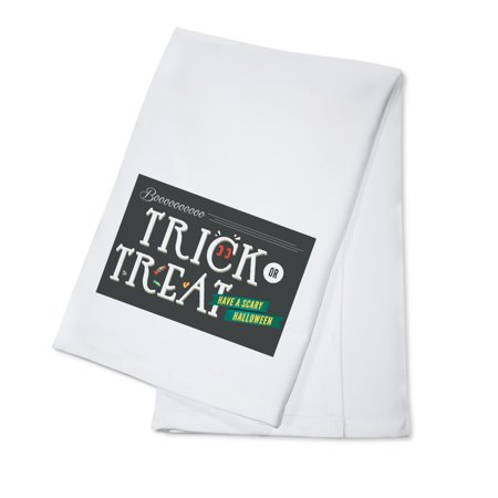Trick or Treat - Happy Halloween - Lantern Press Artwork (100% Cotton Kitchen Towel) - Main Course Dishes For Halloween