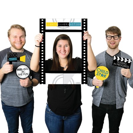 Movie - Hollywood Party Selfie Photo Booth Picture Frame & Props - Printed on Sturdy Material