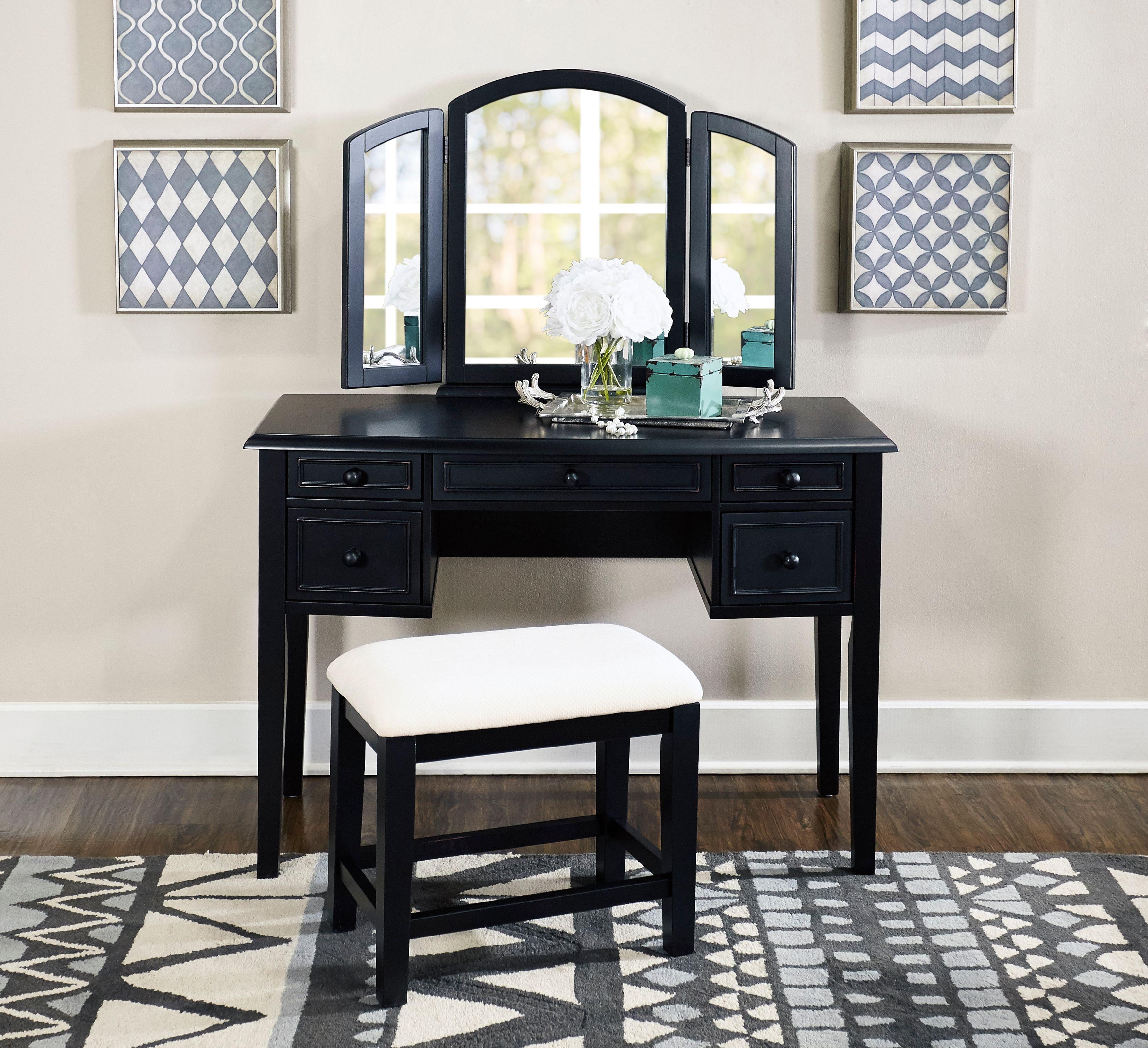 3 Piece Vanity Mirror And Bench Set Multiple Colors Walmart Com