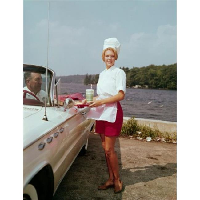 Posterazzi SAL3145371086 Side Profile of a Waitress Serving Food to a Mature Man Sitting in a Car Poster Print - 18 x 24 in. - image 1 of 1