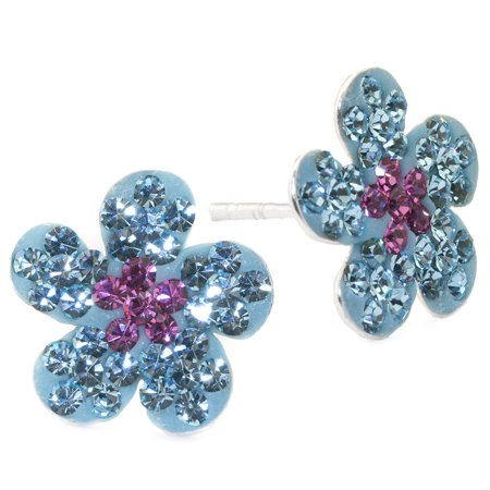 Marisol & Poppy Fine Sterling Silver Pave Blue and Pink Crystal Flower Stud Earrings