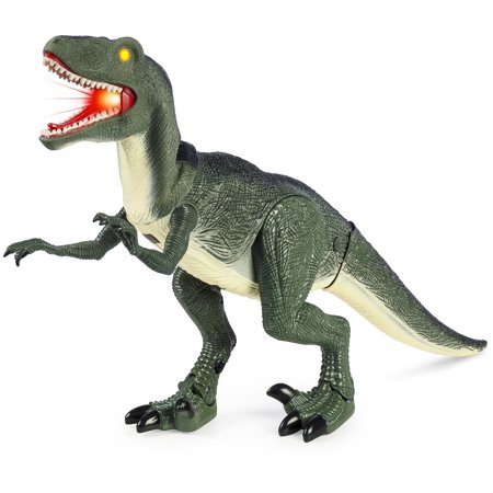 Best Choice Products 21-Inch Walking Velociraptor Dinosaur Toy with Real Lights and Sounds,