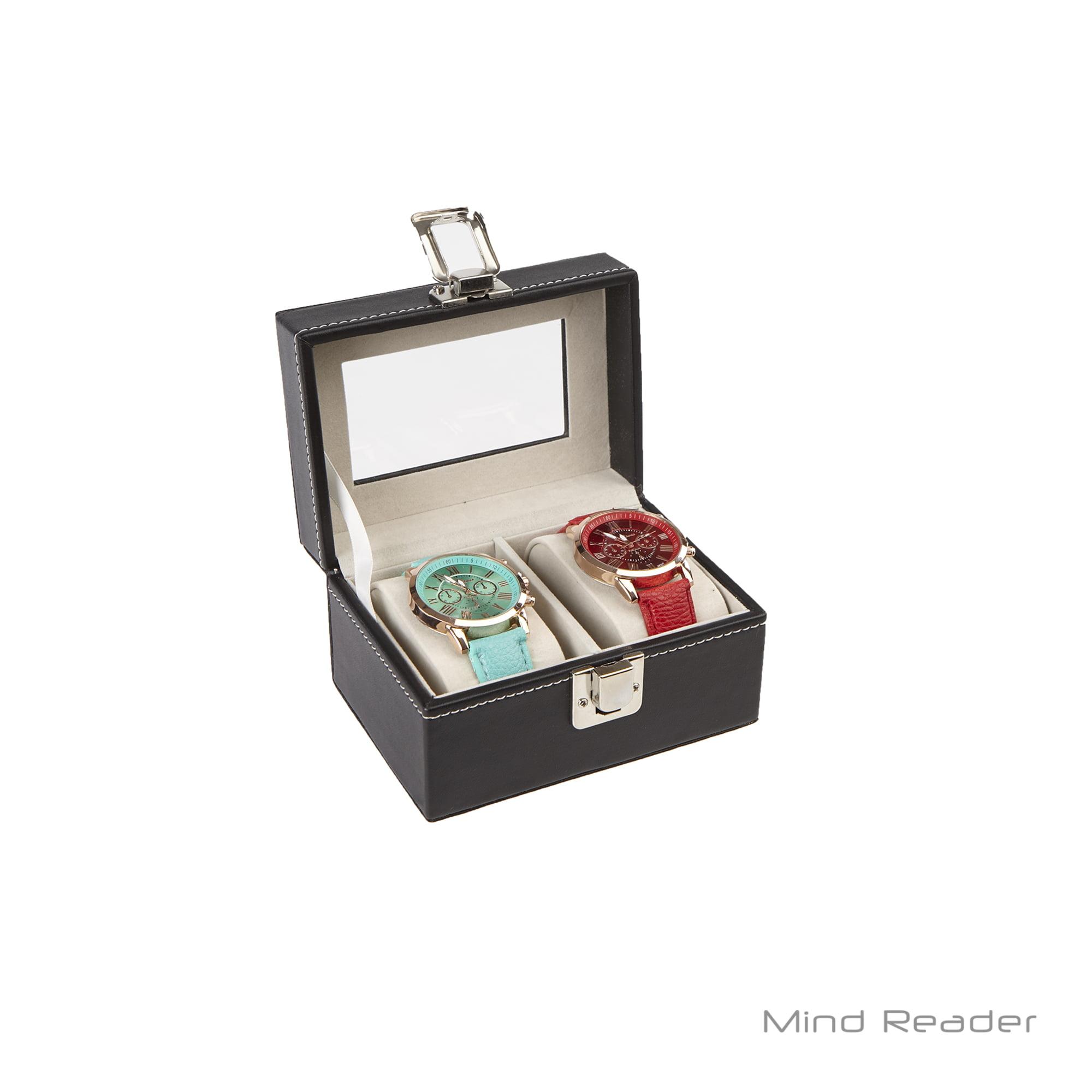Mind Reader Watch Box Organizer Case Fits 2 Watches Mens Jewelry