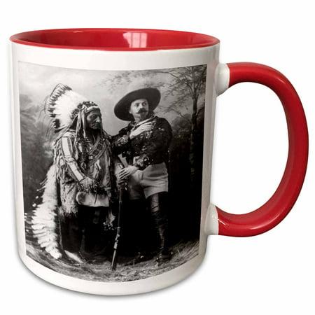 3dRose Sitting Bull and Buffalo Bill 1895 Black and White - Two Tone Red Mug, (Red Buffalo)