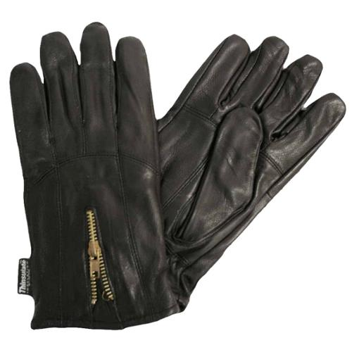 Black Leather Men's 3m Thinsulate Gloves With Zipper Closure Size Medium