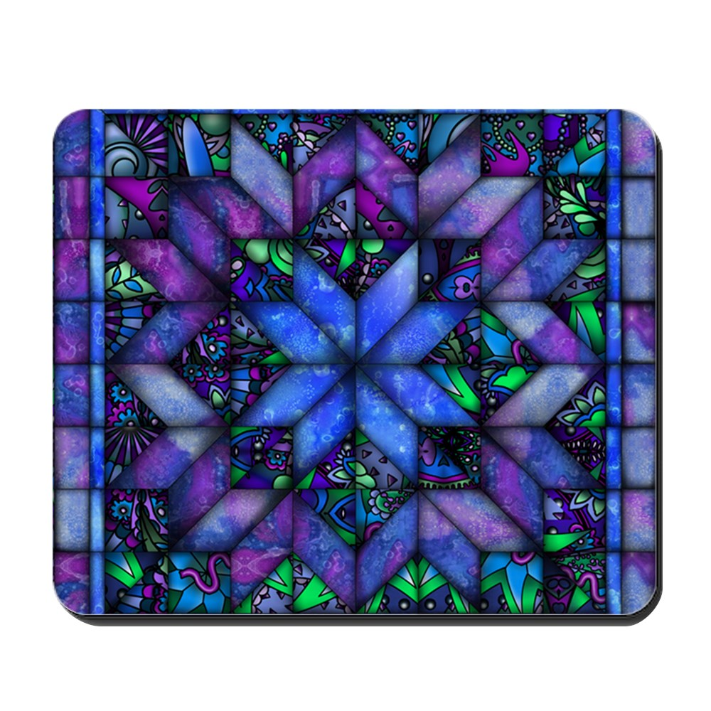 CafePress - Blue Quilt - Non-slip Rubber Mousepad, Gaming Mouse Pad