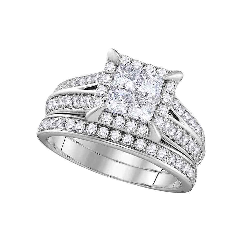 14kt White Gold Womens Princess Diamond Square Halo Bridal Wedding Engagement Ring Band Set 1-1/2 Cttw