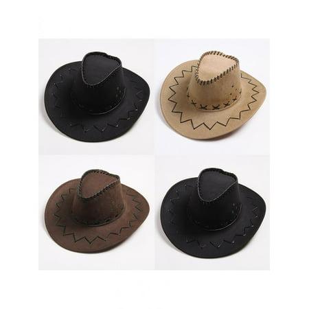 f048b520acc4a Men s Women s Fashion Cowboy Cap Solid Color Wide Brim Hat for Fancy Dress  Party - Walmart.com