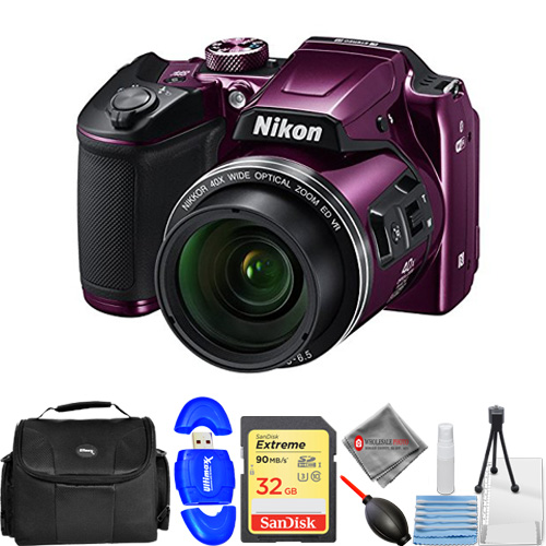 Nikon COOLPIX B500 16MP Digital Camera (Purple) #26507 - USA Model with 32GB SD, Memory Card Reader, Gadget Bag, Blower, Microfiber Cloth and Cleaning Kit