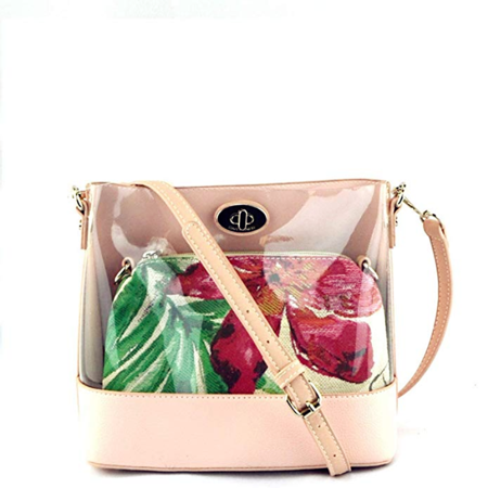 Wholesale Designer Handbag - Designer Inspired 2 in 1 Floral Transparent TurnLock PVC Clear Crossbody Handbag