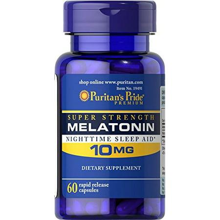 Puritans Pride Super Strength Melatonin 10Mg Rapid Release Capsules  60 Count