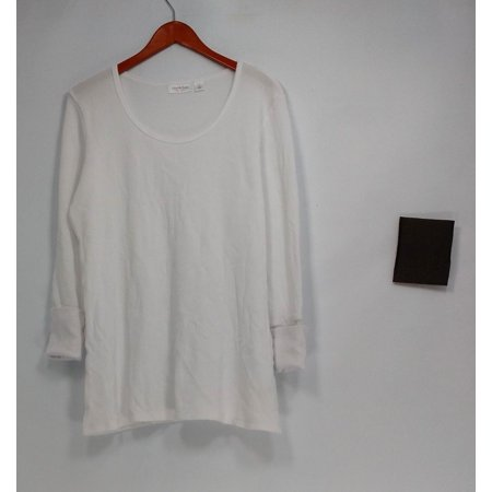 cee bee CHERYL BURKE Top Sz L Long Sleeve Thermal White A292196