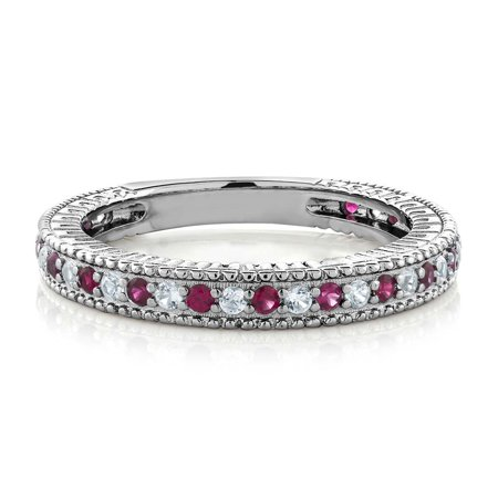 0.48 Ct Red Created Ruby White Created Sapphire 925 Silver Wedding Band Ring](Red Wedding Ring)