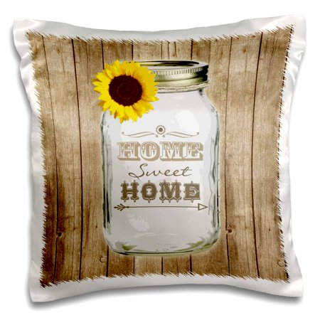 3dRose Country Rustic Mason Jar with Sunflower - Home Sweet Home - Pillow Case, 16 by 16-inch ()