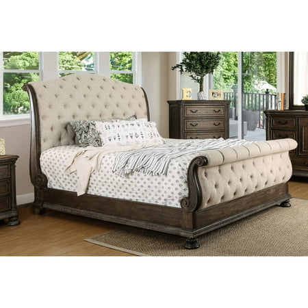 Furniture of America Arlette California King Sleigh Bed, Rustic Natural Tone
