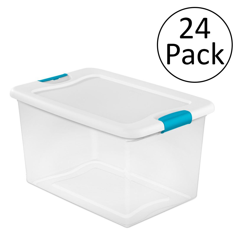 Sterilite 64 Quart Latching Plastic Storage Box, Clear w/...