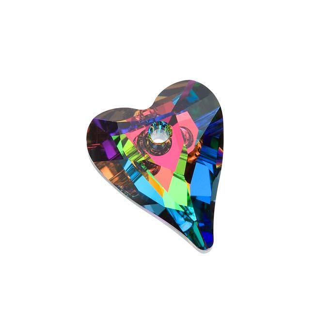 Swarovski Crystal, #6240 Wild Heart Pendant 17mm, 1 Piece, Crystal Vitrail Medium P