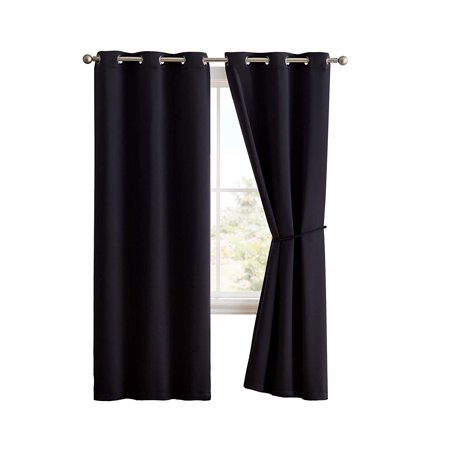 Nicole - 2 Premium Grommet Blackout Window Curtain Panels with Tiebacks - Solid Thermal Insulated Draperies (96
