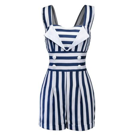 8da8349f8e10 Women Striped Casual Bodycon Playsuit Party Evening Summer Straps Romper  Jumpsuit Sleeveless Strappy Button Beach Shorts - Walmart.com
