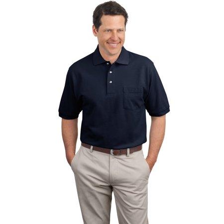K420P Port Authority Mens Knit Shirt Pique Knit Polo with Pocket Pocket Pique Knit Shirt