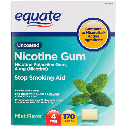 Equate Mint Nicotine Gum, 4 mg, 170 ct