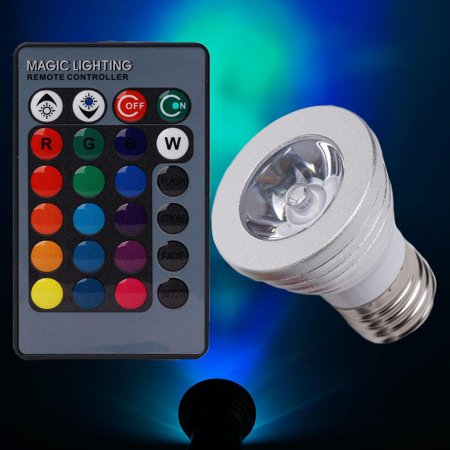3 Watt 16 Color LED RGB Spotlight Backdrop Wedding Stage With Wireless Remote ()