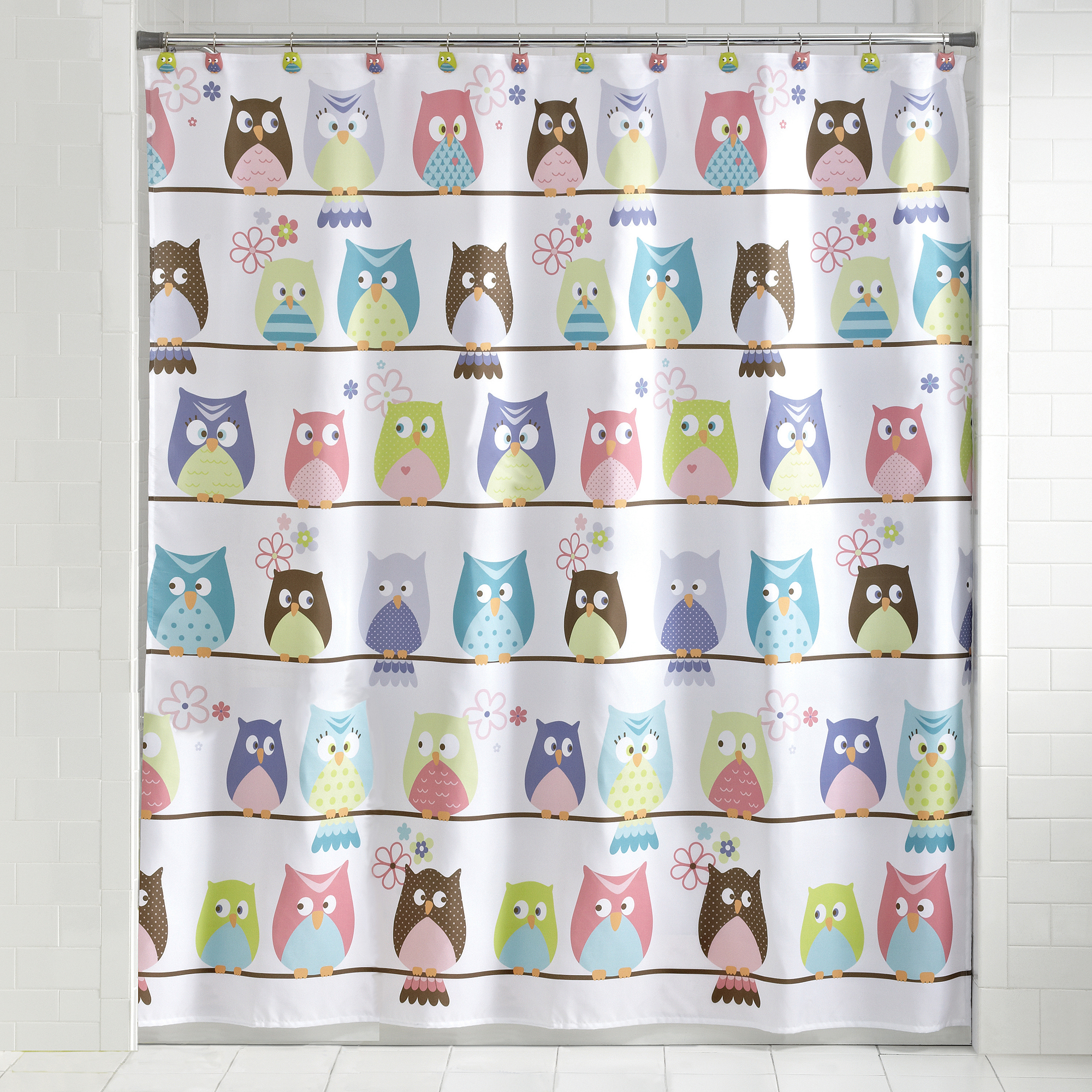 Mainstays Whooty Hoot Decorative Bath Collection Shower Curtain