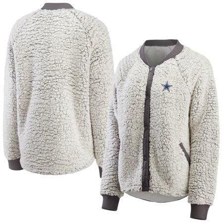 Dallas Cowboys WEAR By Erin Andrews Women's Sherpa Raglan Full-Snap Bomber Jacket - Heathered Gray