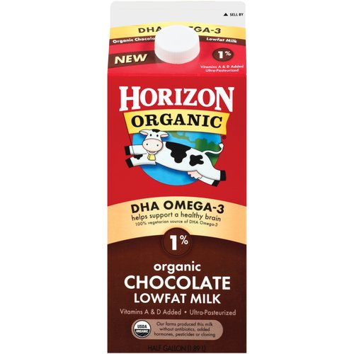 Horizon Organic DHA Omega-3 1% Low-Fat Chocolate Milk, Half Gallon