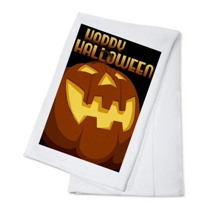 Happy Halloween - Halloween Jack o'Lantern - Vector - Lantern Press Artwork (100% Cotton Kitchen Towel) - Easy Potluck Dishes Halloween