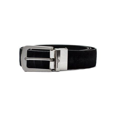 Suede Designer Belt (Luciano Barbera Club Leather Suede Adjustable Belt Black Stainless Steel Buckle )