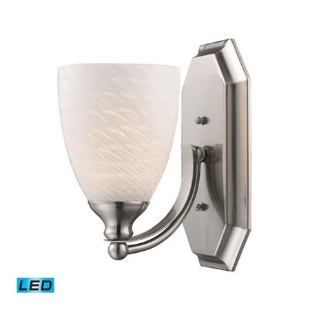 Bathroom Vanity 1 Light LED With Satin Nickel Finish White Swirl Glass 5 inch 13.5 Watts - World of Lamp