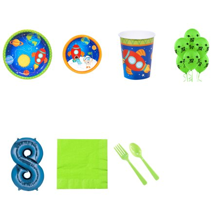 Rocket To Space Party Supplies Party Pack For 32 With Blue #8 Balloon - Space Party Supplies