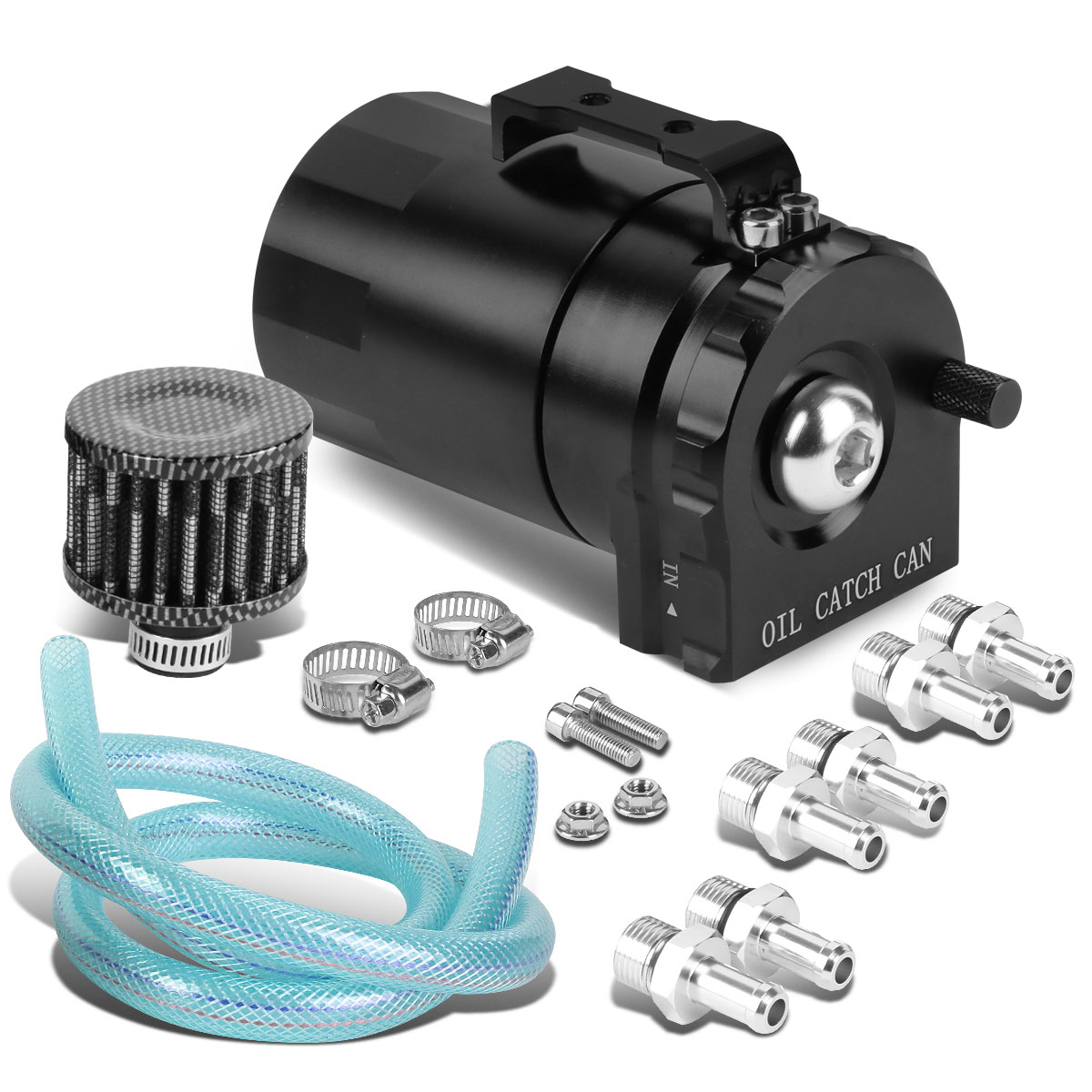 Univeral Aluminum Cylinder Style Racing Oil Catch Tank + Filter Can - Black Tank + Filter