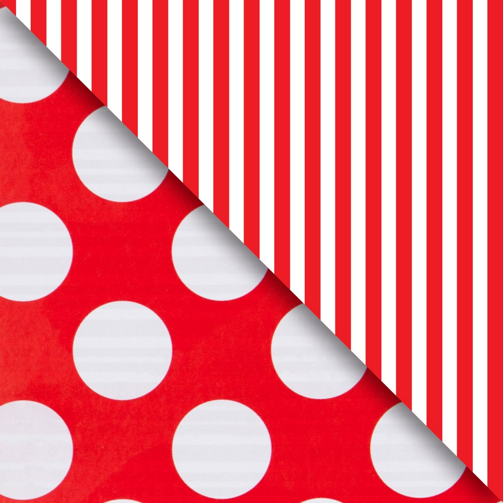 JAM Paper Industrial Size Bulk Wrapping Paper Rolls, Two,Sided Red Dot & Stripe, 1/2 Ream (1042.5 Sq Ft), Sold Individually